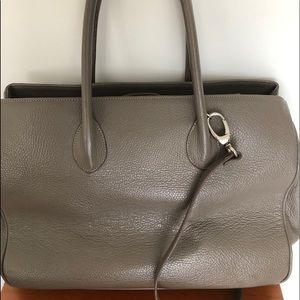 Maxima Italian Designer leather satchel bag taupe